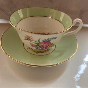 Green Rosina teacup and saucer floral vintage